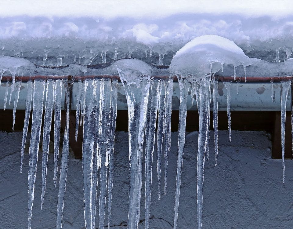 Ice dam on roof of a home