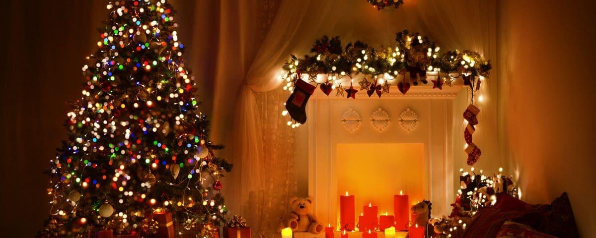 Christmas tree lights and candles