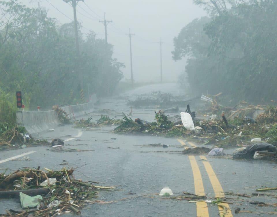 Debri in road during storm