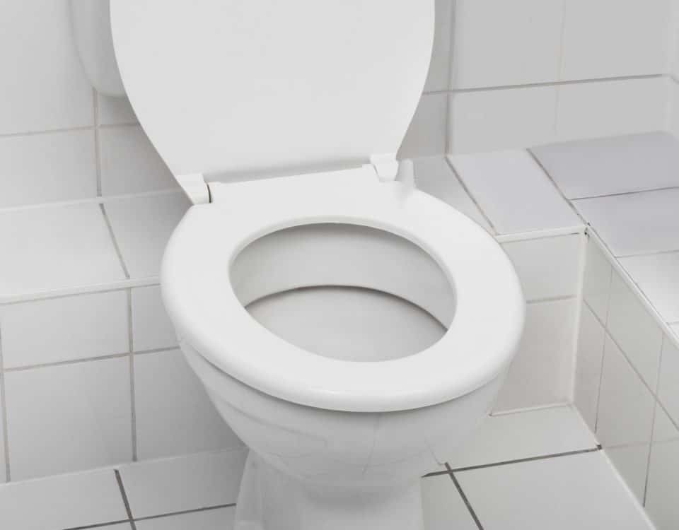 Toilet in a white tiled bathroom